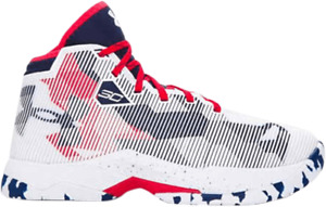Steph Curry Under Armour 2.5 UA Boys Youth 1274062-107 White Red Blue Sz 7Y SC