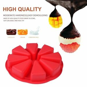 8 Cavity Scone Pans Silicone Cake Mold Pastry Mould Oven Bread Pizza Bakeware QA