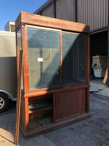 """c1900 antique MAHOGANY country store upright cabinet 14' 5"""" L x 18"""" d x 91.5"""" h"""