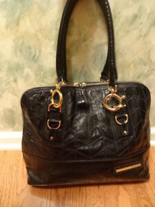 New Large Goldenbleu Black Patent Leather Satchel Handbag