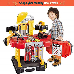 Young Choi's Kids Construction Toy Workbench for Toddlers 110 Pieces Kids Power