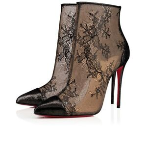 NIB Christian Louboutin Gipsybootie SPC 100 Black Lace Mesh Ankle Heel Boot 38