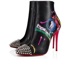 NIB Christian Louboutin Love Is A Boot 100 Black Red Spike Heel Ankle Bootie 38