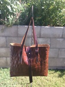 Embossed Leather Shoulder Tote Handbag By Murka wTassels Handcrafted LARGE