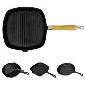 vidaXL Steak Pans Cast Iron Frying Skillets Kitchen Cookware Cook Multi Sizes