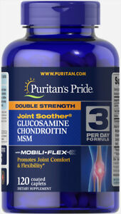 Puritans Pride Double Strength Glucosamine Chondroitin MSM Joint Soother 120Caps