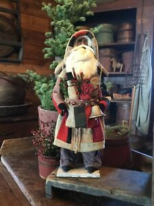 Primitive Early Style Christmas Log Cabin Quilt Santa Claus