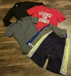 UNDER ARMOUR LOT OF 3 SHIRTS REDGRAYBLACK AND 2 ATHLETIC SHORTS KIDS YOUTH L