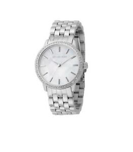 Michael Kors Silvertone Bracelet Watch Mother of Pearl Dial Crystal Bezel MK3118