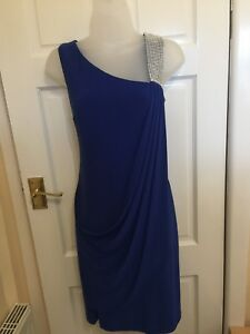Stunning Frank Lyman Jewelled Strap Drapped Dress Uk 12 Ideal For Christmas