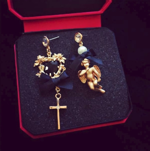 Little Queen gold plated angle black ribbon pearl women fashion drop earrings $12.00