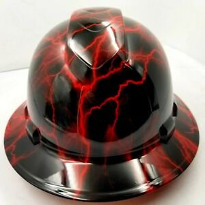 Hard Hat custom hydro dipped , OSHA approved FULL BRIM, CANDY RED LIGHTNING BOLT