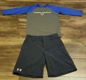 UNDER ARMOUR BLUE GOLF SHORTS AND GRAY SHIRT SMALL OUTFIT KIDS BOYS LOT OF 2