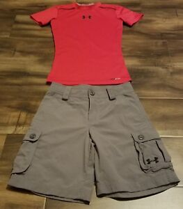 UNDER ARMOUR GRAY SHORTS AND RED FITTED SHIRT SMALL OUTFIT KIDS BOYS LOT OF 2