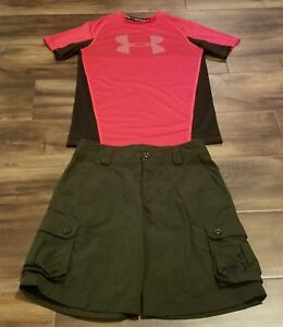 UNDER ARMOUR GREEN SHORTSREDBLACK FITTED SHIRT MED OUTFIT KIDS BOYS LOT OF 2