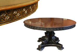 Round Walnut Dining Table with Black and Gold Alhambra Finish
