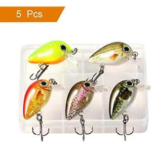 5pcs Fishing Lures Mini Crankbaits Set Topwater Tackle Kits Hard Baits For Bass
