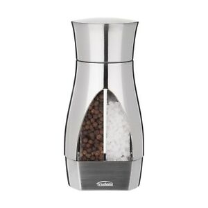 New Contemporary 2 In 1 Stainless Steel Manual Grinder Salt & Pepper Mill Filled