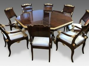 6.6ft Designers Empire style Rosewood & Sunburst flame mahogany dining set