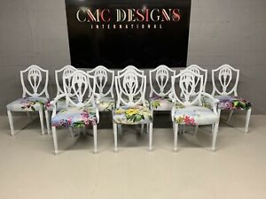 Amazing Set of 10 Beautiful Art Deco Designer Louis XVI style dining chairs