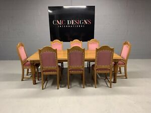 9FT HARRODS DESIGNER ENGLISH OAK DINING SET PROFESSIONALLY FRENCH POLISHED