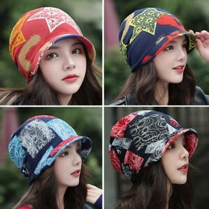 Women Autumn Winter Visor Beanie-Cap Lady Cotton Blend Peaked Brim Knitted Hats