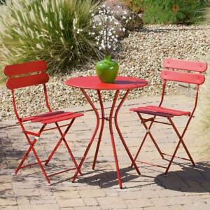 Patio Bistro Set 3 Piece Folding Round Table & Chair Furniture Weather Resistant