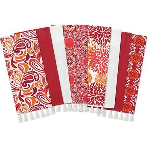 Gourmet Club Flat Woven Kitchen Towels, 8-Pack, Red