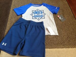 Toddler boys Under Armour Baseball diamond tee shorts summer outfit size 2T(NWT)