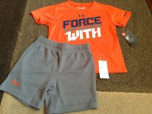 Toddler boys Under Armour Orange tee gray shorts summer outfit size 2T(NWT)