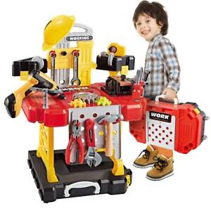 Kids Construction Toy Workbench for Toddler Power Tool Bench Set w Drill Helmet