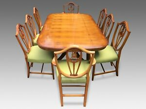 Amazing Designer Art Deco style Burr Yew tree dining set pro French Polished