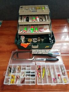 Plano Fishing Tackle Box Full of Lures Knife Scale (LOADED) Mostly Older Items