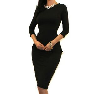 Womens Black Sexy 34 Sleeve Bodycon Party Cocktail Evening Dress M L