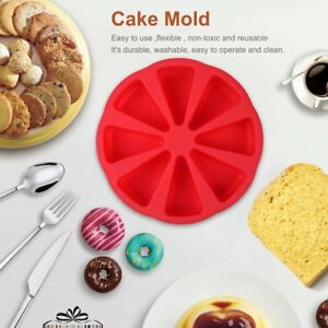 8 Cavity Scone Pans Silicone Cake Mold Pastry Mould Oven Bread Pizza Bakeware F1