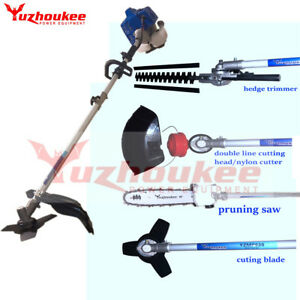 5 in 1 63.3cc Petrol Hedge Trimmer Chainsaw Brush Cutter Pole Saw Outdoor Tools