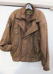 Jurassic Park Universal Studios G-lll Staff Leather Jacket Distressed USA L VTG