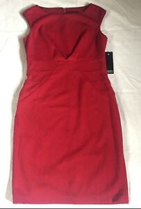 Adrianna Papell Red Cranberry Sleeveless Party Career Cocktail Dress Womens Sz 8