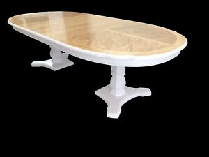 Stunning Designer Art Deco style Oak & Burr Ash dining table French Polished