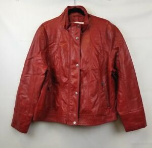 Jessica Simpson Plus Jacket Womens Red Faux Leather Zip Snap Closure Size 3X