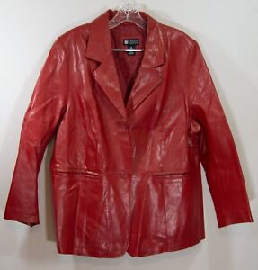 Maggie Barnes 0X Red Leather Jacket coat plus size womens