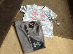 Toddler boys Under Armour tee shorts outfit gray size 3T(NWT)