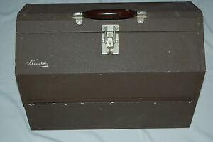 VINTAGE LARGE KENNEDY 1118 AL 6 TRAY DOUBLE FOLD OUT TACKLE BOX METAL BROWN