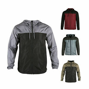 Men Hooded Water Resistant Lightweight Windbreaker Zipper Outdoor Sports Jacket