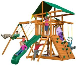 Gorilla Playsets Outing III Wooden Playset Rock Wall Slide Playground