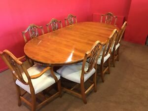 Opulent Designer Art Deco style Burr Yew tree dining set pro French polished