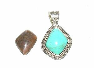 JAY KING STERLING SILVER INTERCHANGEABLE TURQUOISE  MOONSTONE PENDANT LARGE