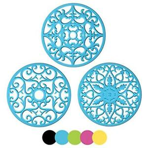 ME.FAN 3 Trivets Set Silicone Multi-Use Intricately Carved Mat Flexible Durable