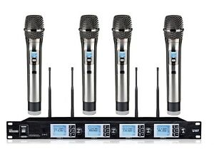 4X100 Channel UHF Wireless Karaoke mic Microphone for Performance Speech Lecture