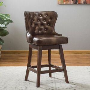 Traditional Wingback Tufted Brown Leather 26